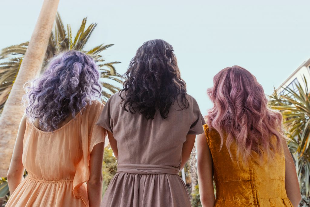 AURA personalized hair care customers with three finished pigmented looks using their pigmented Masques in Fantasy, Classic, and Neutralizing pigments.