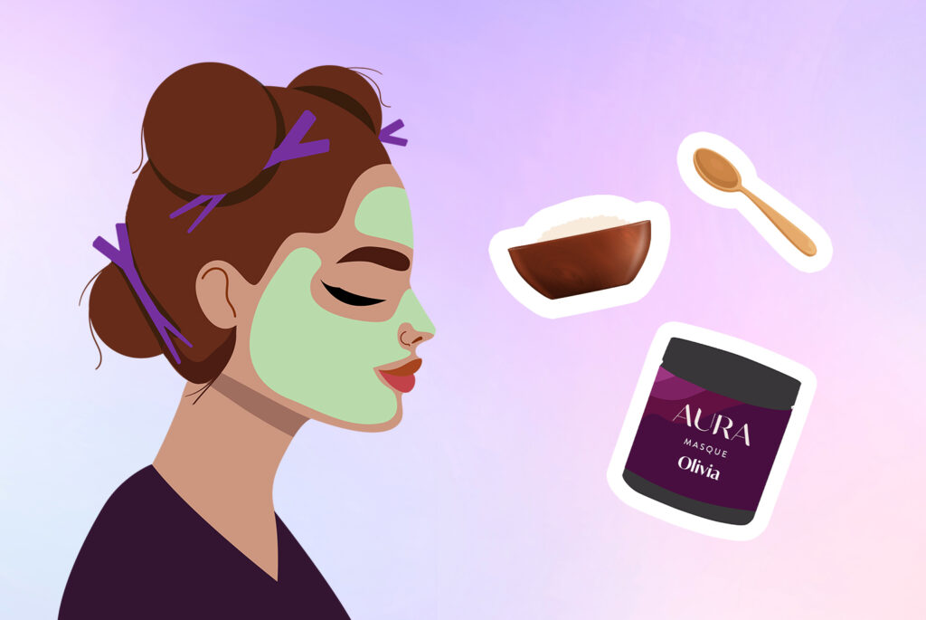 Girl with her hair up, doing a face mask, and surrounded by ingredients and a hair Masque