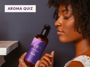 AURA client Maya indulging in her AURA aroma added to her hair care Ritual.