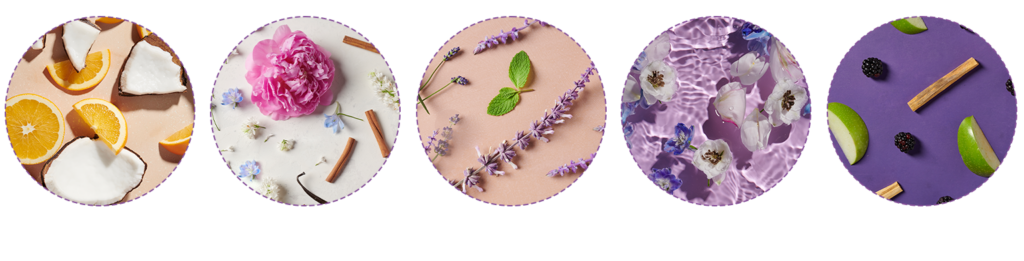 Five different AURA aromas to choose from when creating your next personalized hair care Ritual.