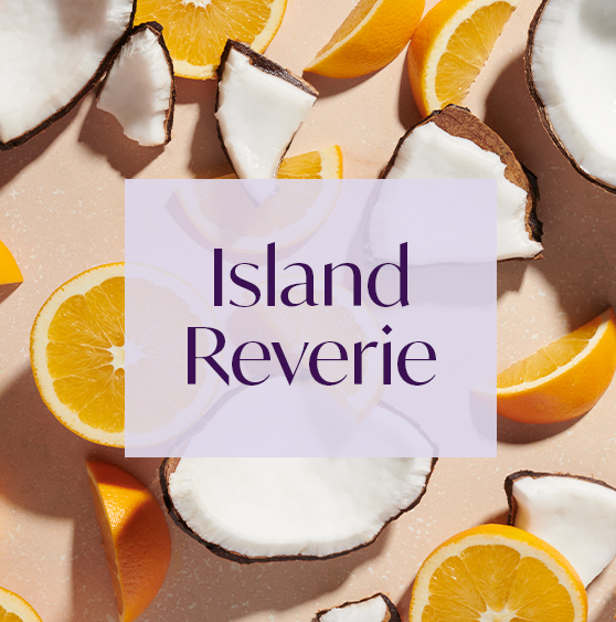 AURA aroma Island Reverie with notes of coconut and zesty orange.