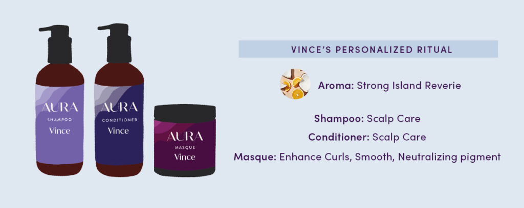 Vince's Personalized Ritual:  Aroma: Strong Island Reverie Shampoo: Scalp Care  Conditioner: Scalp Care  Masque: Enhance Curls, Smooth, Neutralizing pigment