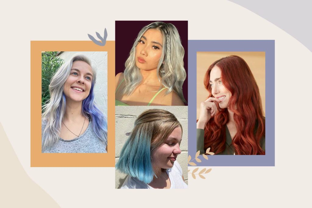 Collage of women with colorful hair after using AURA semi-permanent hair pigments in Classic and Fantasy shades.