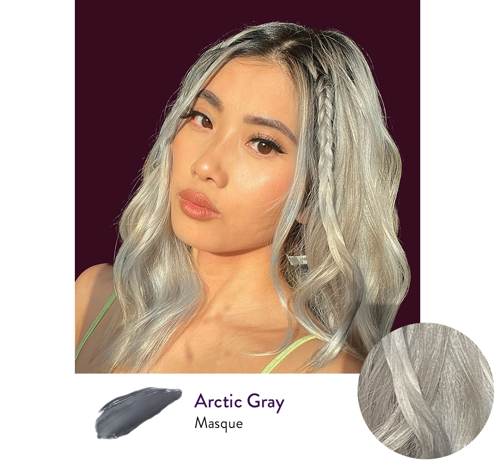 Girl with a Cool Silver hair color next to a swatch of AURA's personalized Arctic Gray hair Masque.