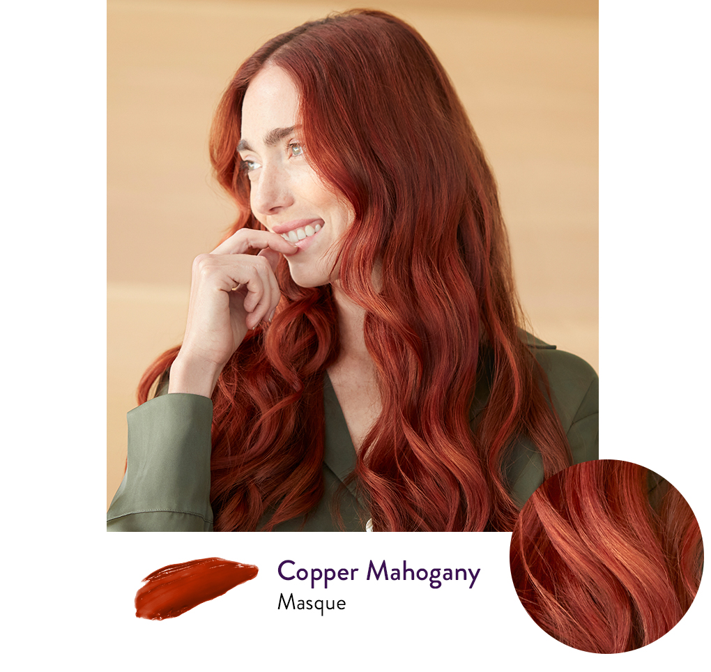 Woman with a Copper Mahogany hair color next to a swatch of AURA's personalized Copper Mahogany hair Masque.