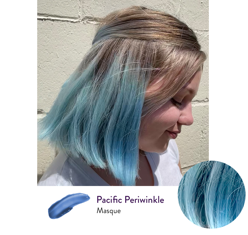 Girl with an Icy Blue hair color next to a swatch of AURA's personalized Pacific Periwinkle hair Masque.