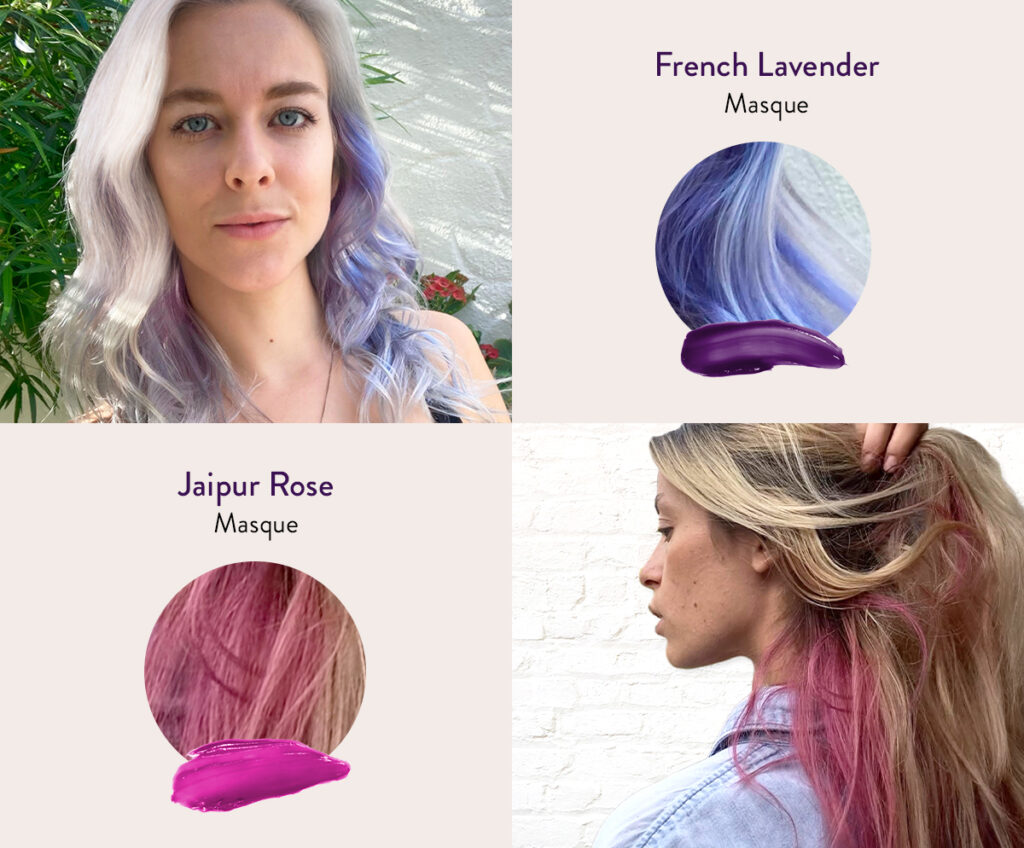 Two women with the Underlayer of their hair dyed with various colors next to swatches of AURA's personalized Jaipur Rose and French Lavender hair Masque.