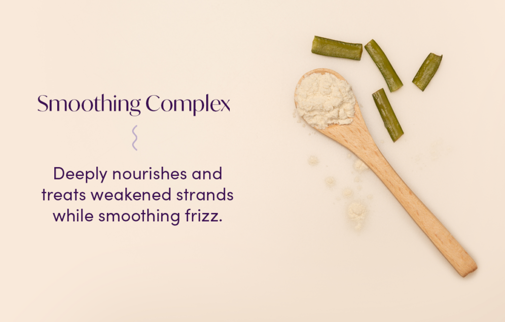 Picture of our smoothing complex alongside a description that says our smoothing complex deeply nourishes and treat weakened strands while smoothing frizz